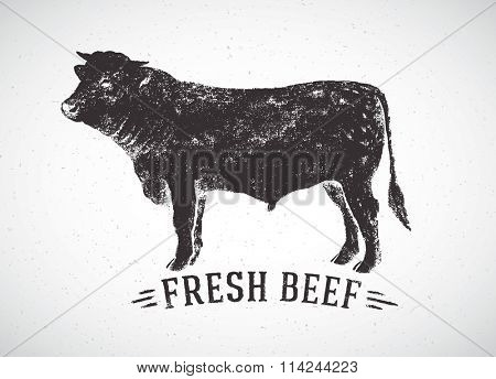 Graphical silhouette bull and inscription. Vector illustration, drawn by hand.