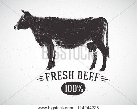 Graphical silhouette cow and inscription. Vector illustration, drawn by hand.