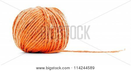 Orange Fiber Clew, Sewing Yarn Ball Isolated On White Background