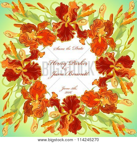 Wedding card with red iris flower wreath background. Vector illustration