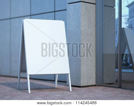White advertising stand near office building. 3d rendering