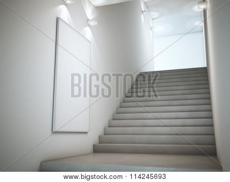 Bright stairway with lamps and poster. 3d rendering