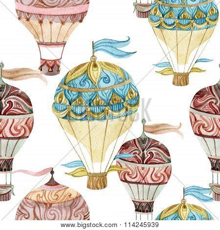 Aerostat Seamless Pattern. Watercolor Hot Air Balloons