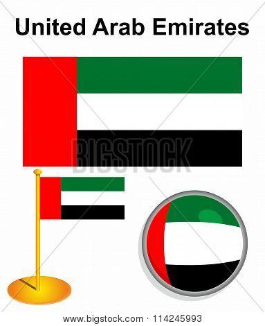 United Arab Emirates Flag. Vector Illustration