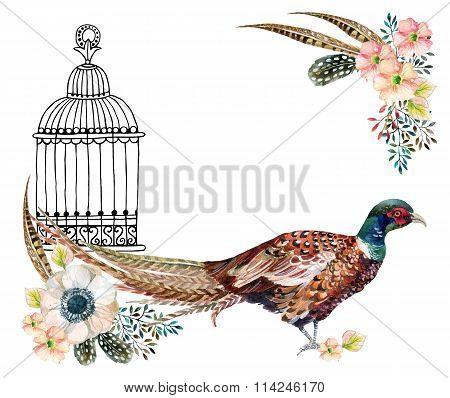 Watercolor Pheasant Card.