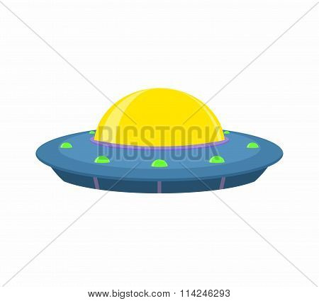 UFO and Flying Saucer, Spaceship on white background.