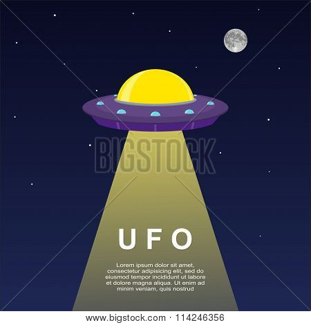 Abstract space background with UFO Spaceship.