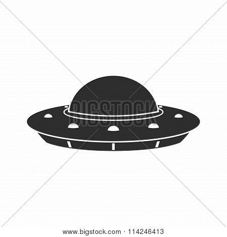 UFO Flying Saucer Icon isolated on white background.