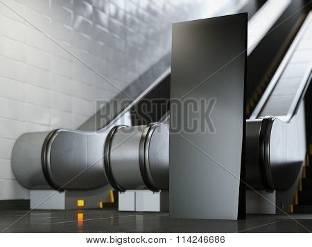 Black advertising stand near escalator. 3d rendering