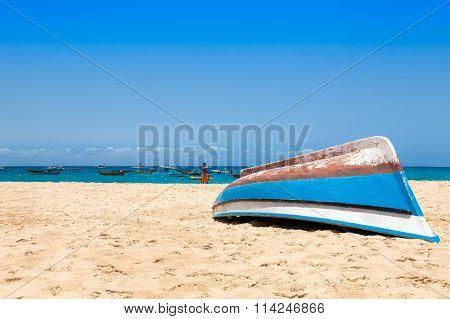 Fisher Boat In Santa Maria Beach In Sal Cape Verde - Cabo Verde