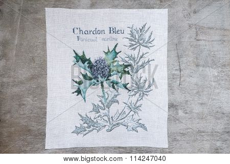 Thistle Embroidered Cross On A Gray Background