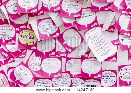 notice board at a race for a cure event