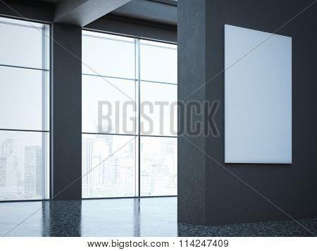 Dark hall in modern gallery. 3d rendering