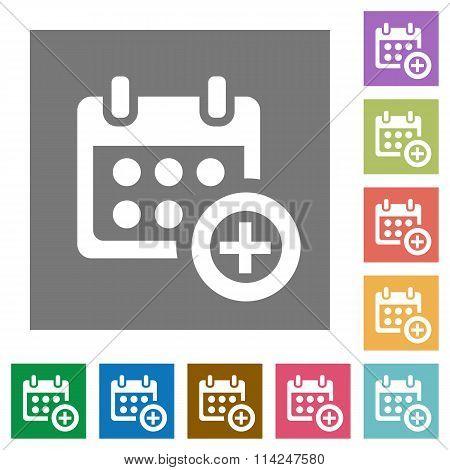Calendar Add Square Flat Icons