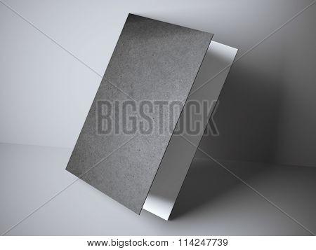 Black leaflet in gray studio
