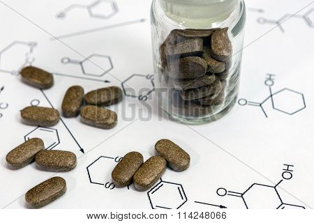 Chemistry Reaction Formula With Brown Pills