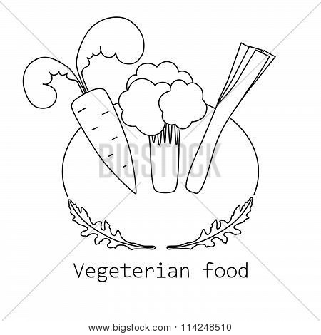 Vegeterian food monoline logo with carrot, broccoli and leek