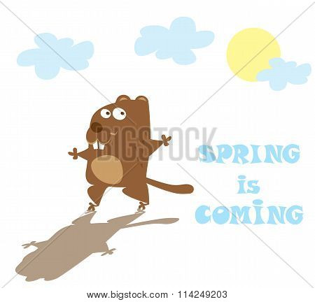 Groundhog Day. Funny Animal Hand Drawn In Cartoon Style Isolated On White Background. Vector Illustr