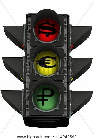 Traffic light with currency symbols
