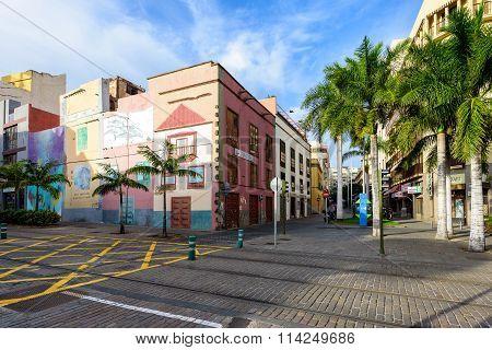 treet with color architecture of Santa Cruz on Tenerife island