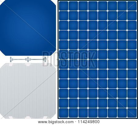 High efficiency solar panel. Front and back side of mono-crystalline solar cell and dogbone link.
