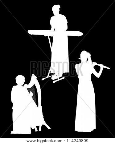 illustration with three musicians isolated on black background