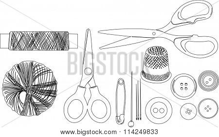 illustration with set of sewing items isolated on white background