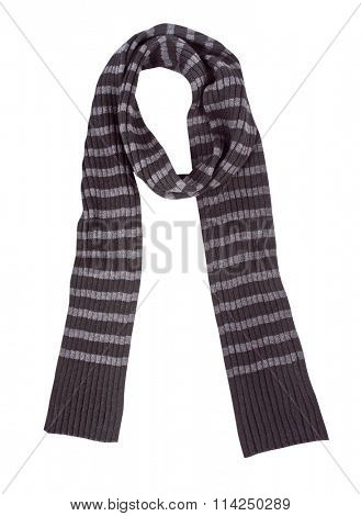 striped wool scarf isolated on white background
