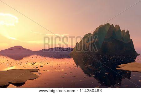 Sunset Sunset In Antarctica.