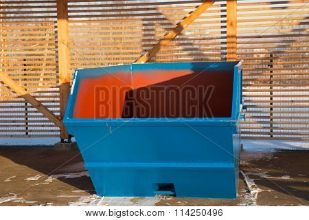 Blue Large Garbage Container At Winter Day