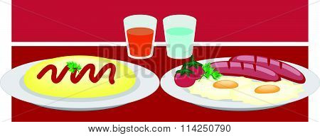 Breakfast On A Plate Eggs Bacon Lettuce Tomato A Cup