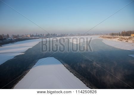 Freezing River With The Steam Over The Water
