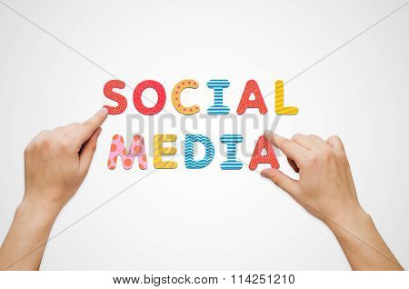 Hands Put The Words Social Media With Magnetic Letters