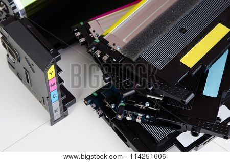 Toner Cartridge Set For Laser Printer. Computer Supplies.