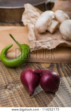 Shallot Mushrooms And Chili Pepper