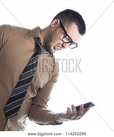 Irrate Businessman On Phone
