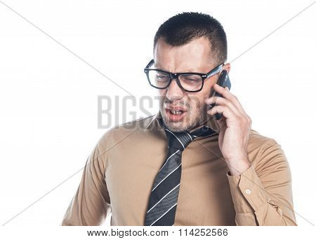 Angry Businessman On Phone