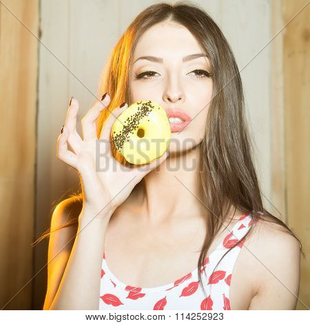 Young Woman With Doughnut
