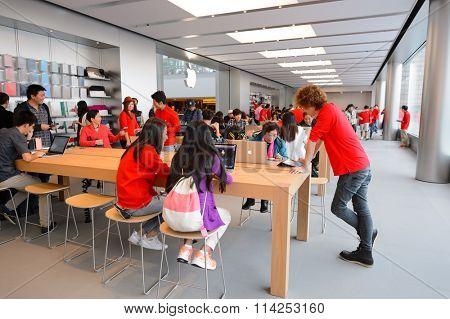 HONG KONG - DECEMBER 25, 2015:  interior of Apple store. Apple Inc. is an American multinational technology company headquartered in Cupertino, California