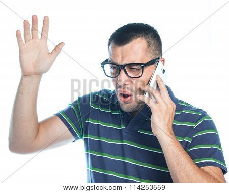 Nervous Man On Phone