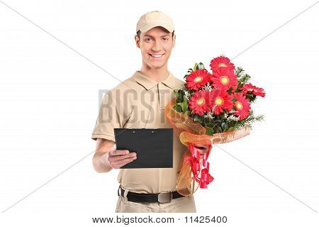 Delivery Man Holding A Beautiful Bouquet