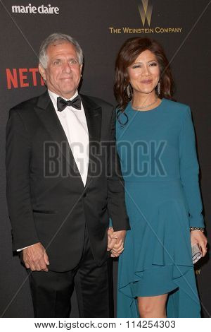 BEVERLY HILLS, CA - JAN. 10: Les Moonves and Julie Chen arrive at the Weinstein Company and Netflix 2016 Golden Globes After Party on January 10, 2016 at the Beverly Hilton Hotel, Beverly Hills, CA.