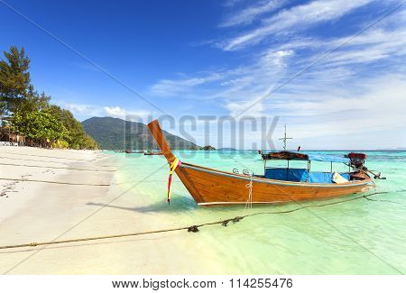 Long Tail Boat At A Beautiful Beach, Thailand.