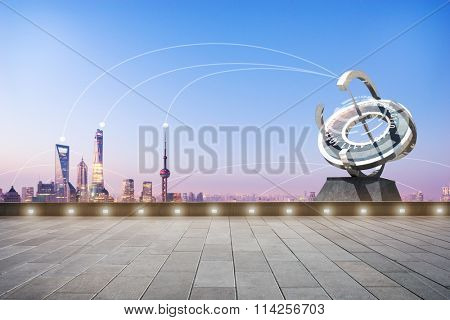 empty marble floor and communication within modern buildings in blue sky at dawn