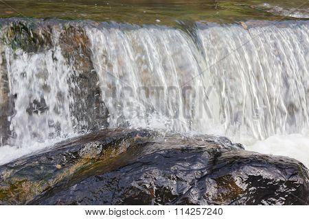 Waterfall, Water Stream Down To The Big Rock
