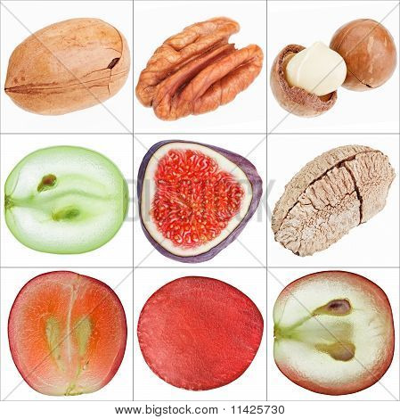 Collage Of Isolated Fruits (nuts, Grape, Fig), Fine Macro Shots