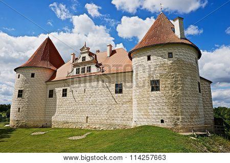 Exterior of the medieval  Bauska castle in Bauska, Latvia.