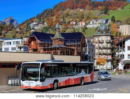 Bus At The Engelberg Railway Station Entrance