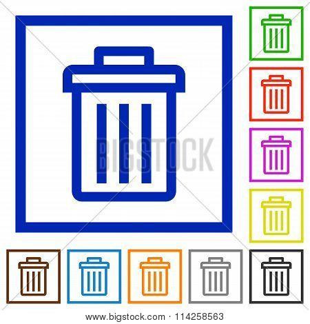 Delete Framed Flat Icons
