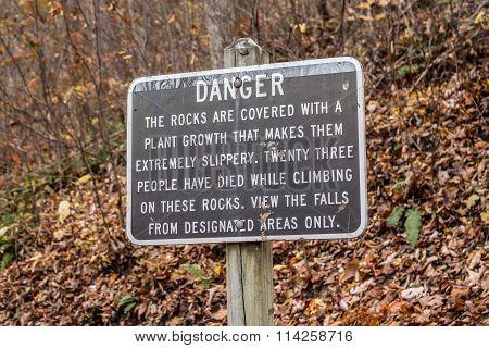 Danger Sign at Crabtree Falls in Virginia